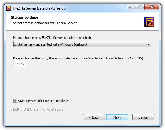 Установка службы FileZilla Server