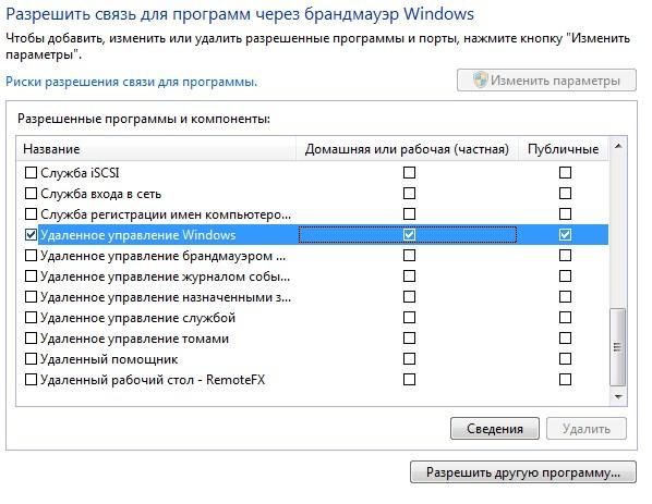 Исключения брандмауэра Windows