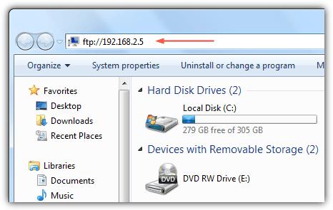 Доступ к фтп-серверу из проводника