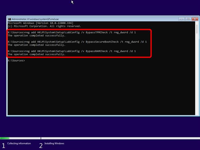 Команды, которые обходят проверки TPM, SecureBoot и RAM в Windows 11.