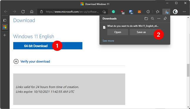 Загрузите и сохраните ISO-файл Windows 11