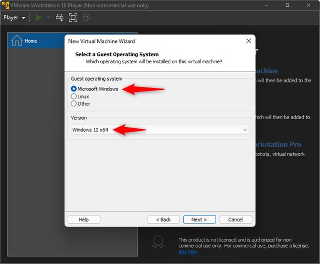 Выберите Microsoft Windows и Windows 10 x64